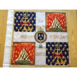 """drapeau des """"Cent Suisses"""" garde rapproché du Roi, fidèles parmi les fidèles"""